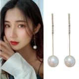S925银针韩国珍珠镶钻气质网红长款流苏夸张耳钉