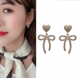S925银针韩国高级感蝴蝶结2020年新款网红气质耳钉