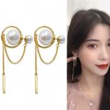 S925银针韩国轻奢高级感珍珠长款流苏简约风耳钉