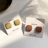 S925银针韩国磨砂小方块小众设计感气质简约耳钉