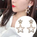 S925银针韩国珍珠闪钻新款五星夸张个性气质时尚网红耳钉