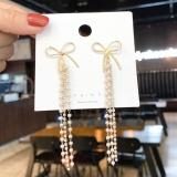 【5-10左右】S925银针韩国蝴蝶结流苏长款气质显瘦百搭时尚珍珠串耳钉