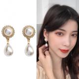 S925银针韩国优雅文艺复古珍珠气质简约镶钻耳钉