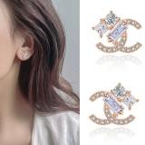 S925银针韩国双C锆石高级感2020年新款简约气质小巧耳钉