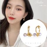 S925银针韩国高级感金属气质珍珠水晶扭曲打结百搭耳钉