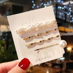 韩国满珍珠4件套可爱超仙少女发夹一字夹