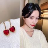 S925银针韩国红心闪钻锆石高级感轻奢大气仙气少女耳钉