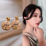 S925银针韩国设计师魔轮眼2020年新款潮个性耳钉