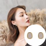 S925银针韩国简约港风方形复古网红新款气质耳钉