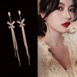 S925银针韩国高级感蝴蝶流苏气质网红长款耳钉