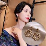 S925银针韩国圆圈五角星网红气质2020年新款耳钉