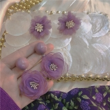 S925银针韩国纱网多层花朵简约夏季新款甜美少女百搭耳钉