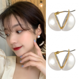 韩国巴洛克珍珠半圆夹层式高级感气质网红耳钉