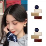 S925银针韩国印象派法式涂釉复古撞色气质简约少女耳环