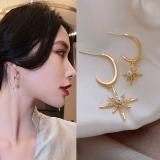 S925银针韩国高级感大小八芒星珍珠镶钻2020新款网红耳钉
