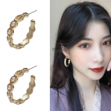 S925银针韩国气质简约半圆圈C形珍珠几何耳钉女