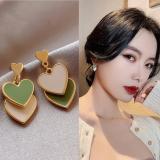 S925银针韩国2020新款绿色桃心撞色简约耳钉网红气质耳饰