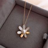 韩国雏菊珍珠锁骨链ins潮小众设计感网红饰品冷淡风简约颈链