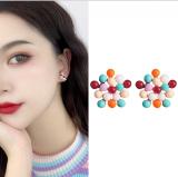 【7-27左右】S925银针韩国时尚彩色短款网红洋气个性气质新款耳环耳钉