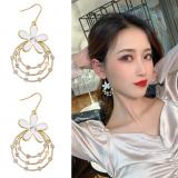 S925银针韩国多层圆环水钻花朵气质时尚耳环