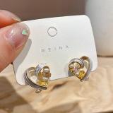 S925银针韩国甜美爱心心形气质简约珍珠彩色桃心网红可爱耳钉耳饰