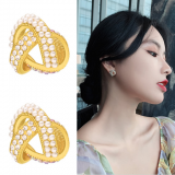 S925银针韩国立体交叉珍珠女高级感新款网红气质耳钉耳饰