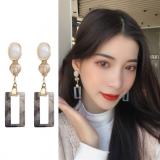 【8-6左右】S925银针韩国气质简约长款方块少女心甜美个性耳钉
