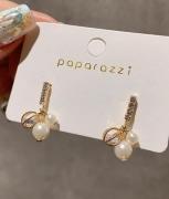 S925银针韩国珍珠水晶水钻超仙时尚小耳垂精美耳坠耳钉