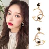 S925银针韩国东大门气质星月耳环2020新款潮时尚设计感满钻耳钉