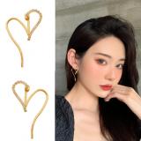 S925银针韩国设计感镂空镶钻爱心气质夸张网红耳钉耳坠女