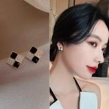 【真金电度】S925银针韩国微镶小方块通勤冷淡风网红气质耳钉耳饰女