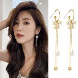 S925银针韩国蝴蝶结流苏个性锆石珍珠长款网红耳钉耳饰女