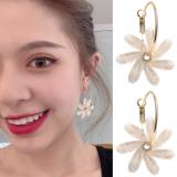 S925银针韩国明星同款花朵气质网红个性简约大耳环耳坠