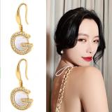 韩国个性G字母镶钻板材简约气质网红气质耳环