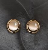 S925银针韩国高级感猫眼石冷淡风简约百搭复古气质耳钉女