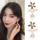 S925银针韩国气质简约后挂式花朵超仙珍珠优雅耳环耳钉女