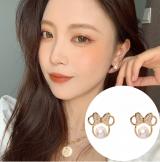 S925银针韩国款镶钻可爱蝴蝶结珍珠米奇时尚网红耳钉