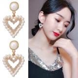 S925银针韩国2020新款爱心满钻珍珠时尚气质耳钉女