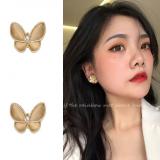 S925银针韩国猫眼石蝴蝶气质小巧镶钻2020年新款耳钉耳饰