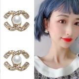 S925银针韩国2020年新款潮小香风珍珠双C气质简约复古百搭耳钉