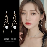 S925银针韩国珍珠女优雅时尚网红高级感长款气质耳钉