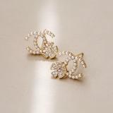 S925银针韩国双C珍珠花朵气质个性小香风时尚百搭耳钉