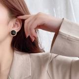 S925银针韩国小香风圆形2020年新款潮简约气质冷淡风小巧几何黑色珍珠耳钉