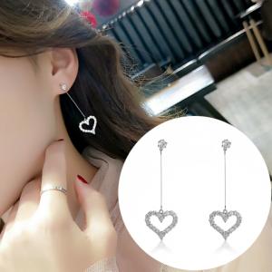 S925银针韩国简约时尚气质名媛百搭长款流苏满钻爱心耳钉