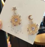 S925银针韩国不对称星月复古气质网红个性耳钉