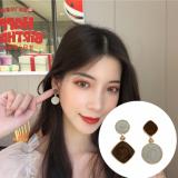 S925银针韩国气质简约涂釉几何圆形不对称菱形优雅耳钉