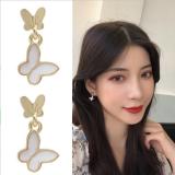 S925银针韩国气质甜美时尚小巧蝴蝶森系超仙少女耳钉