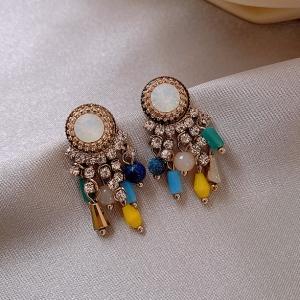 S925银针韩国复古彩色水晶流苏高级感个性网红春夏耳钉
