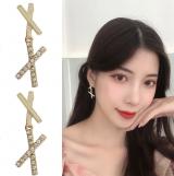 S925银针韩国东大门简约高级感X交叉几何个性小巧耳钉