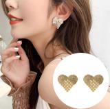 S925银针韩国满钻心形爱心简约小巧高级感气质网红耳钉女